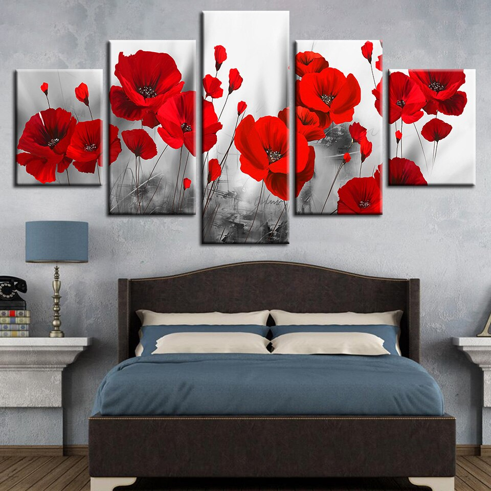 Canvas Printed Pictures Living Room Wall Art Frameless 5 Pieces Romantic Poppies Paintings Red Flowers Poster Modular Home Decor