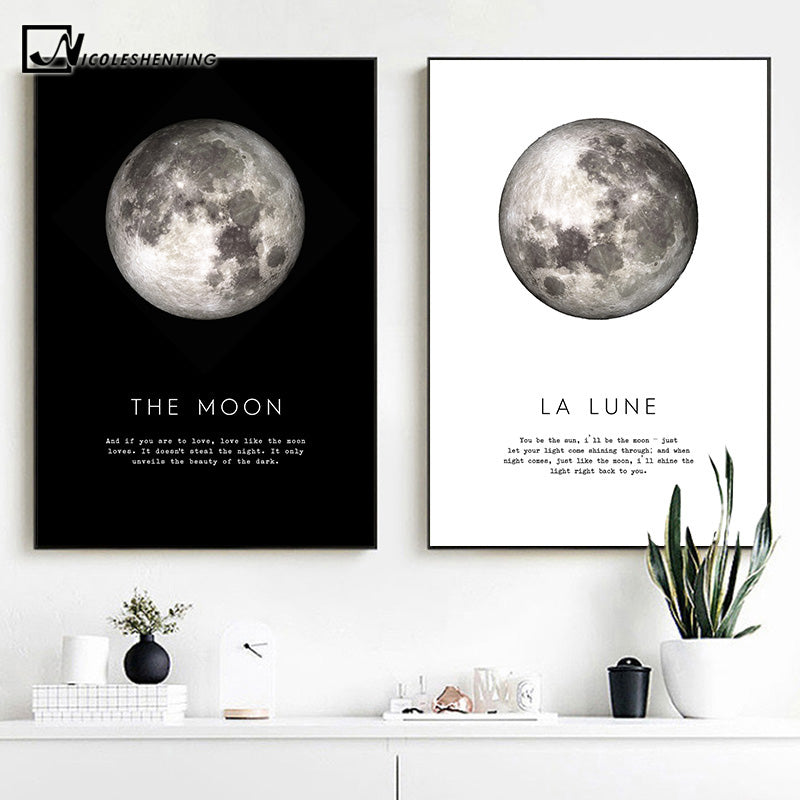 The Moon Quotes Canvas Poster Black White Wall Art Print Planet Painting - wall art