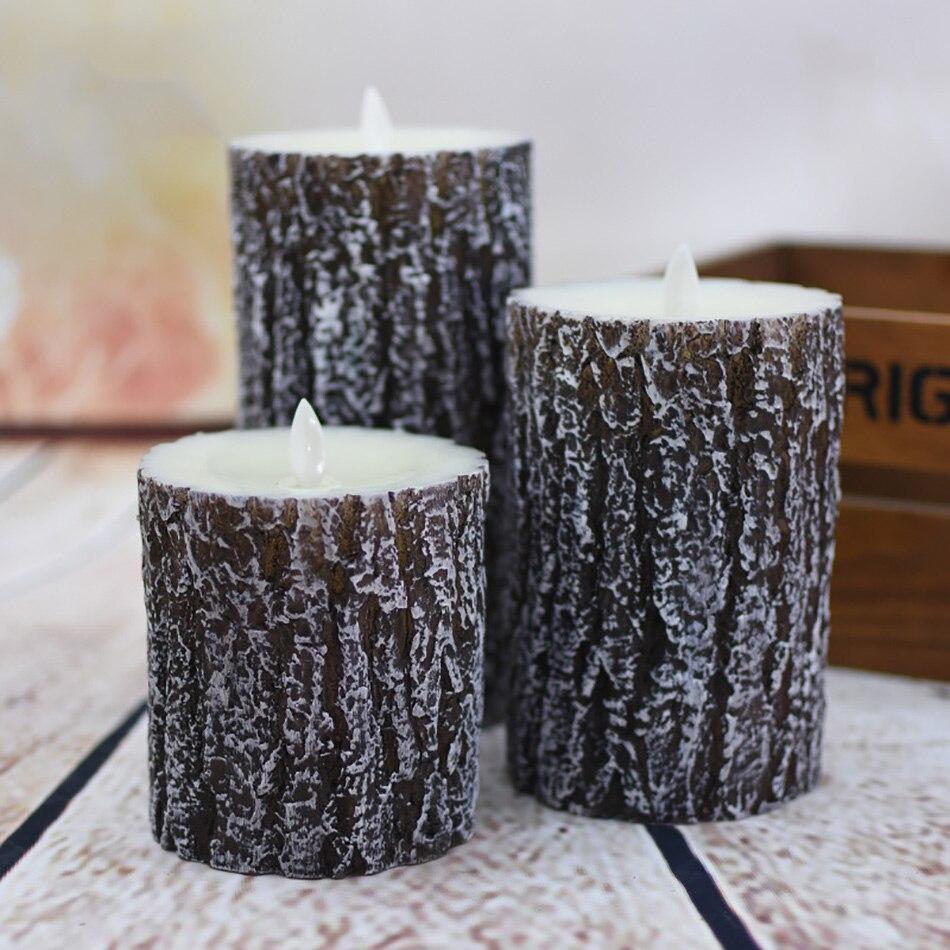 Wireless timer remote pine tree finishing led wax candle,Christmas/Halloween candle light/home decoration,Wedding led candles