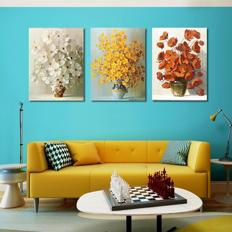 Modern Minimalist Potted Flower Poster Red Yellow Orange Flower Print Canvas Painting Home Wall Art Decoration Can Be Customized
