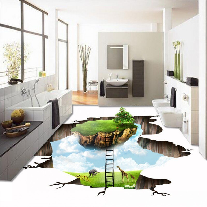 Free Shipping custom 3d floating green island flooring self-adhesive home decoration bathroom non-slip flooring wallpaper mural
