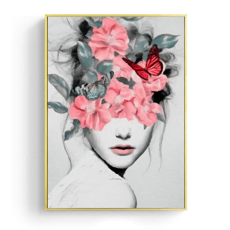 Flower Girl Portrait Canvas Prints Wall Art Painting Wall Picture Posters for Living Room Home Decor