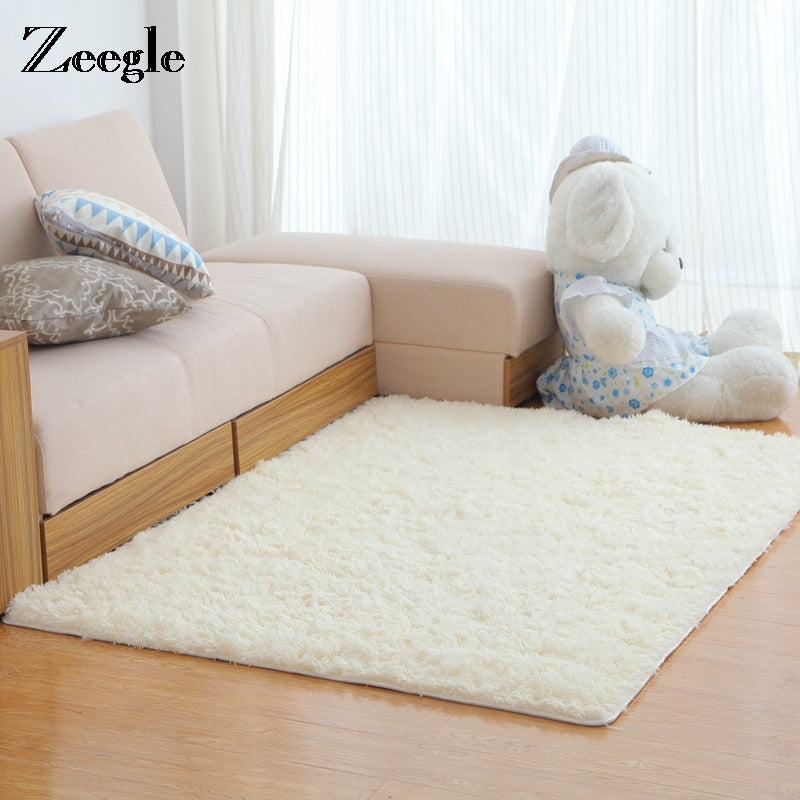 Zeegle Carpet for Living Room Soft Shaggy Floor Rug Fluffy Mats Kids Room Area Rug Bedroom Large Size Mat Bedside Carpet Mat Rug