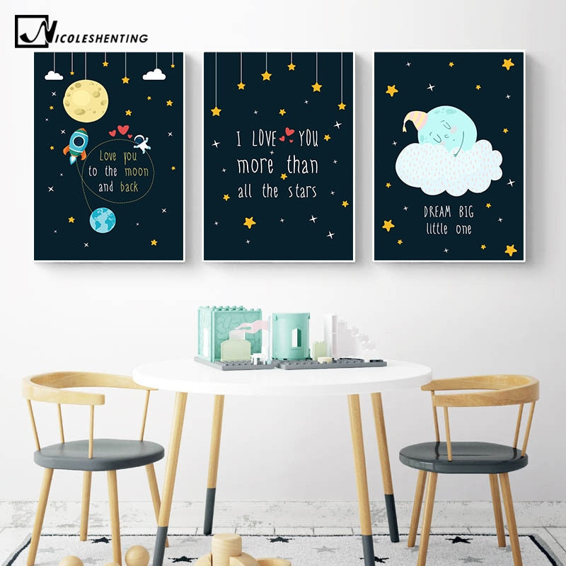 Rocky Space Nursery Quotes Child Poster Canvas Art Decorative Print Wall Painting - wall art