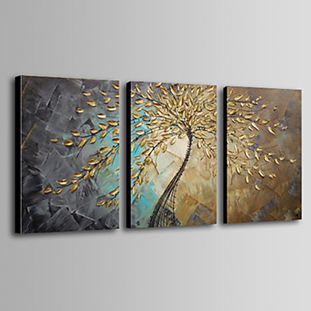 3 pcs Hand painted thick paint pallet knife Oil Painting golden leaves on canvas Modern Home Decor wall art for living room - wall art