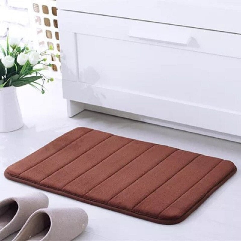 Non-Slip Pure Color Bath Mat For Bathroom Coral Fleece Memory Foam Kitchen Carpet Water Absorbing Soft Comfortable Area Rug