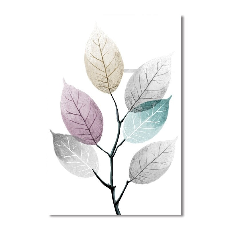 Modern Simple Small Fresh Leave Decorative Painting Modular Picture Wall Art Canvas Painting - wall art