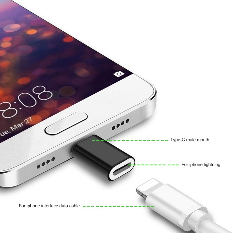 For Lightning Pin to Type C USB-C Alloy Converter Charging Type-C Connector Phone Adapter For iPhone Huawei P30 Xiaomi Phone