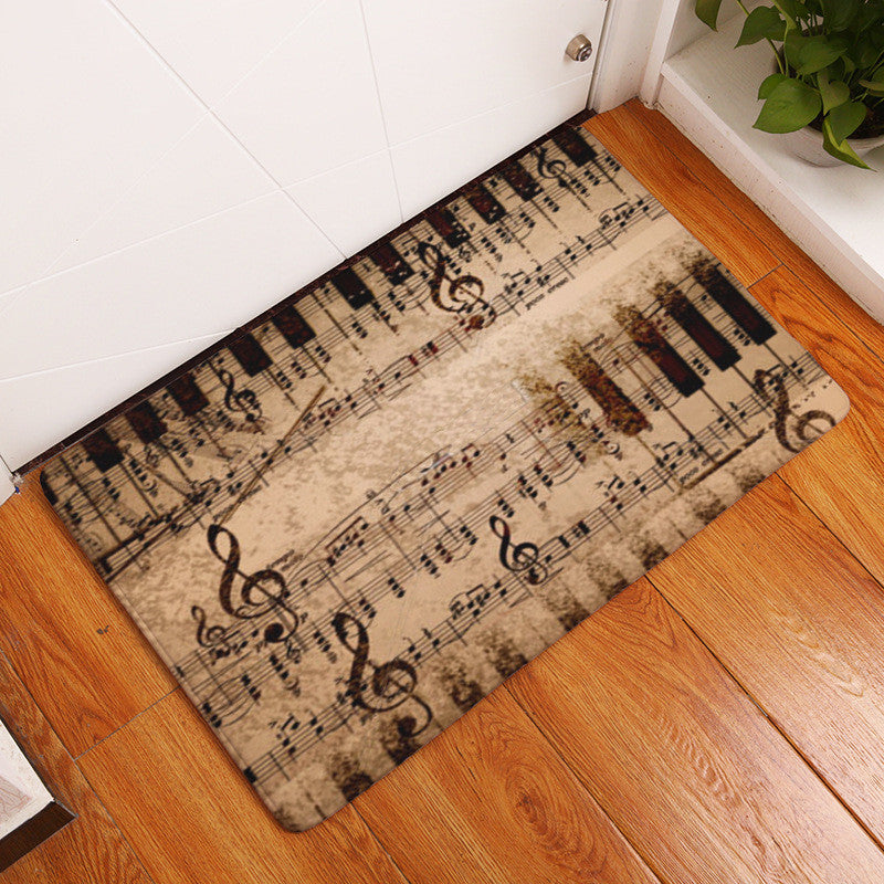 Piano Keyboard Music Note Carpet Memory Foam Rugs Flannel Carpet Rug Bathroom Doormat Clean Mat Area Rugs for Home Decoration