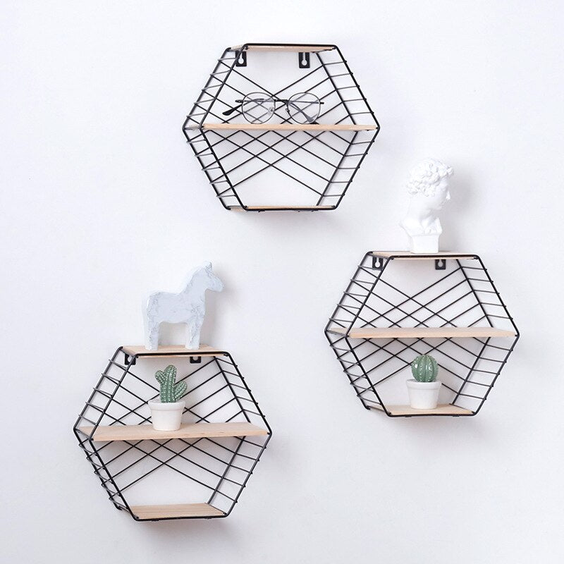 Hexagon Shelf Metal Wall Decor Floating Shelf Modern Wall Hanging Nordic Shelf Geometric Figure Art Decorative Wall Shelf