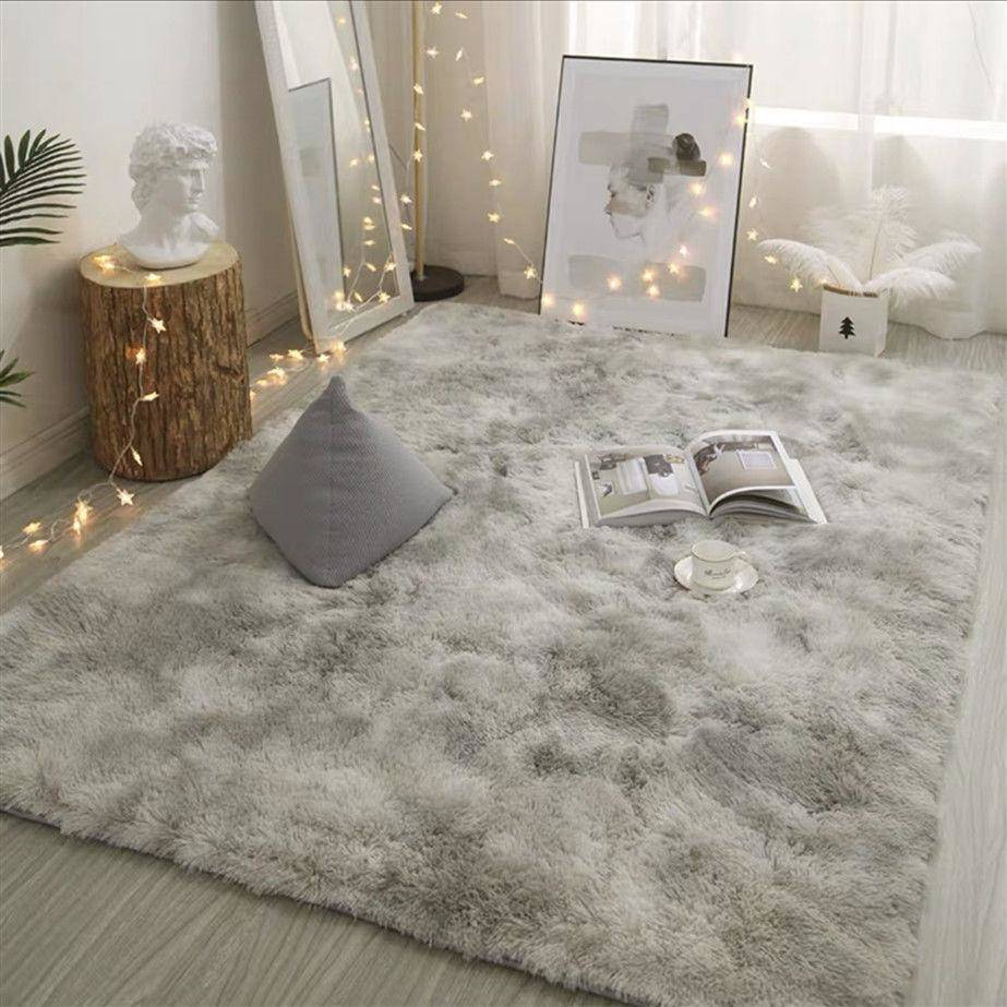 Grey Carpet Tie Dyeing Plush Soft Carpets For Living Room Bedroom Anti-slip Floor Mats - home and decor