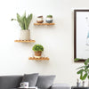 Wall-mounted Storage Rack Natural Bamboo Wood Wall Shelf Useful Floating Shelve For Small Potted Plants Books Home Ornaments