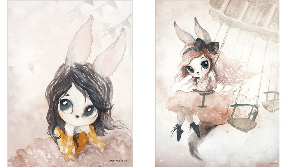 Decor Nordic Canvas Painting Rabbit Girl - wall art-oosmdeals