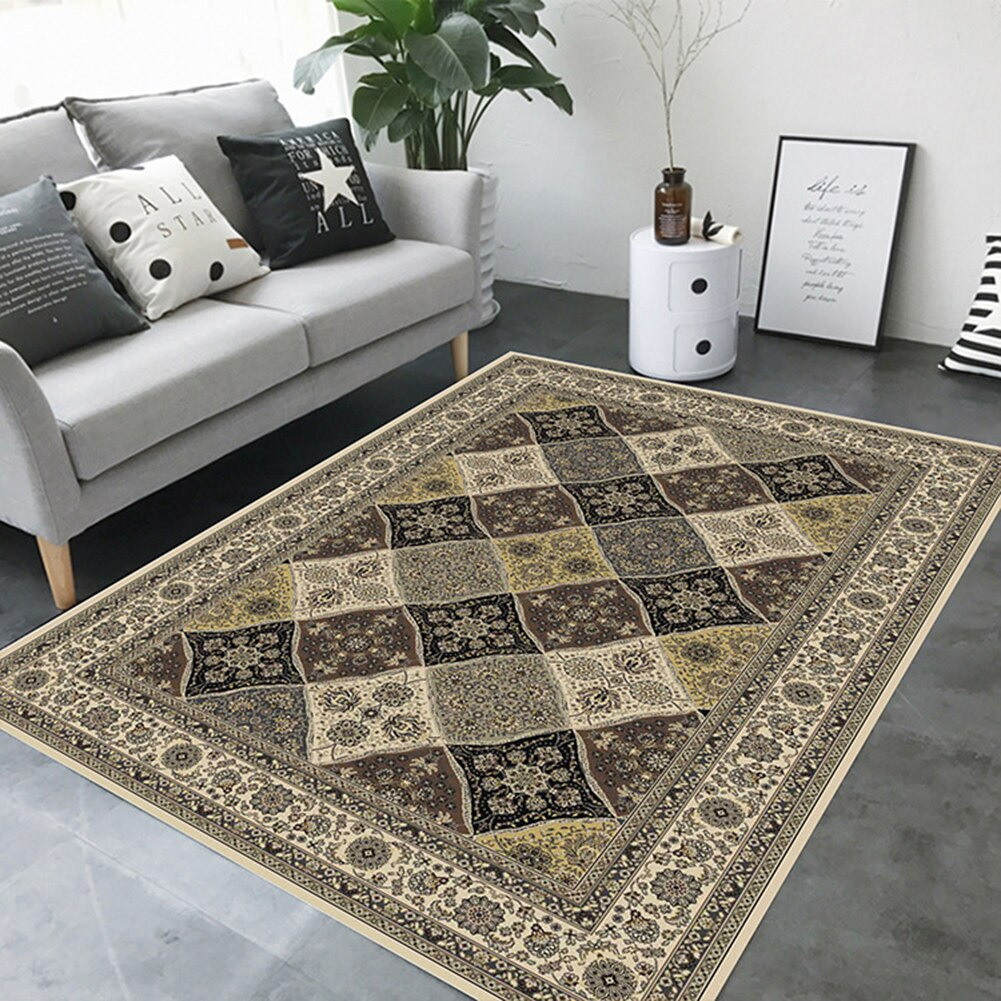 EHOMEBUY Square Carpet Chinese Classical Anti Slip Floral Pattern for Living Room/Bedroom Floor Protection Home Rug - home and decor