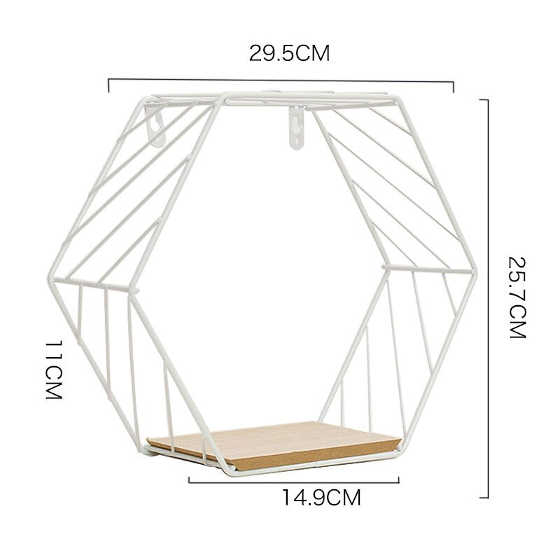 Modern Nordic Shelf Wall Decor Metal Iron Hexagon Shelf Wall Hanging Floating Shelf Geometric Mensole Decorative Wall Shelf