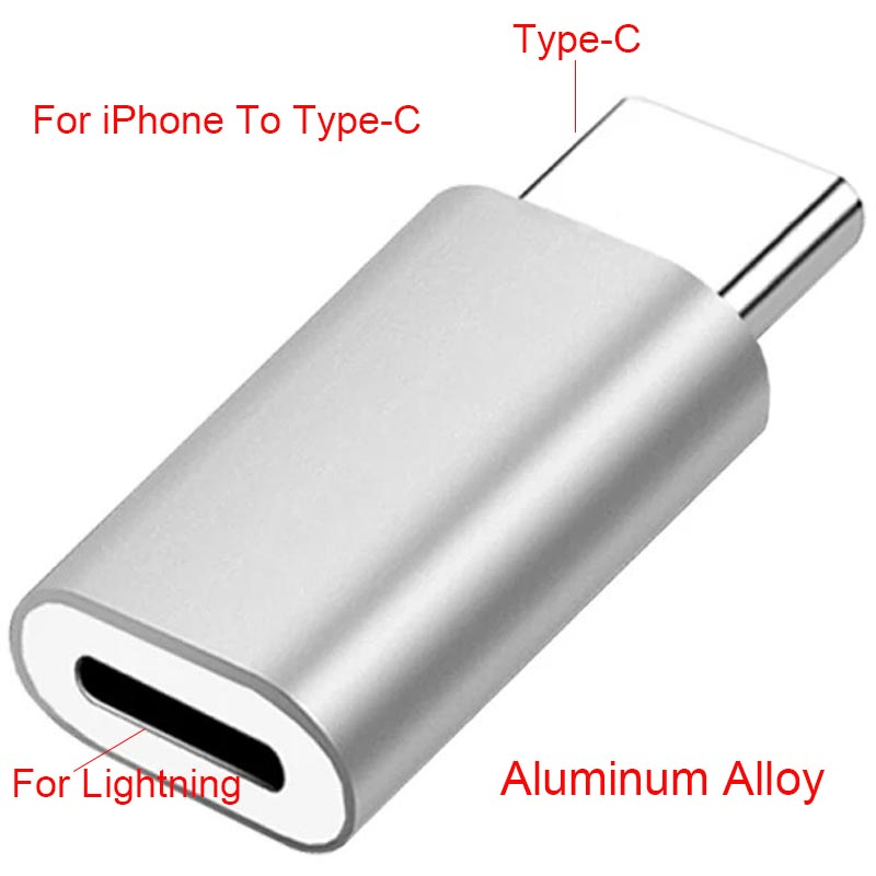Lightning Pin to Type C USB-C Alloy Converter Charging Type-C Connector Phone Adapter For iPhone Huawei P30 Xiaomi - home decor Online store