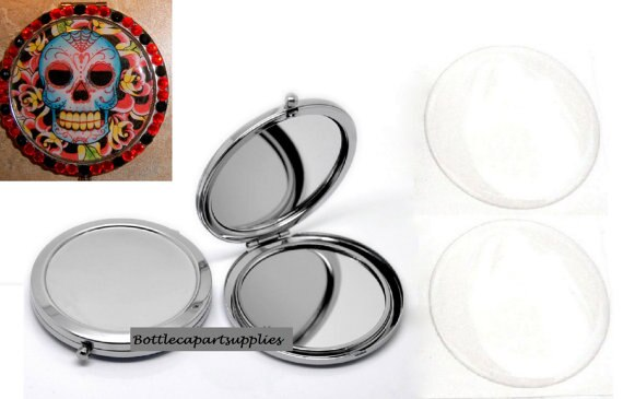 Blank Compact Mirror with 58mm epoxy stickers DIY Compact Makeup Mirror