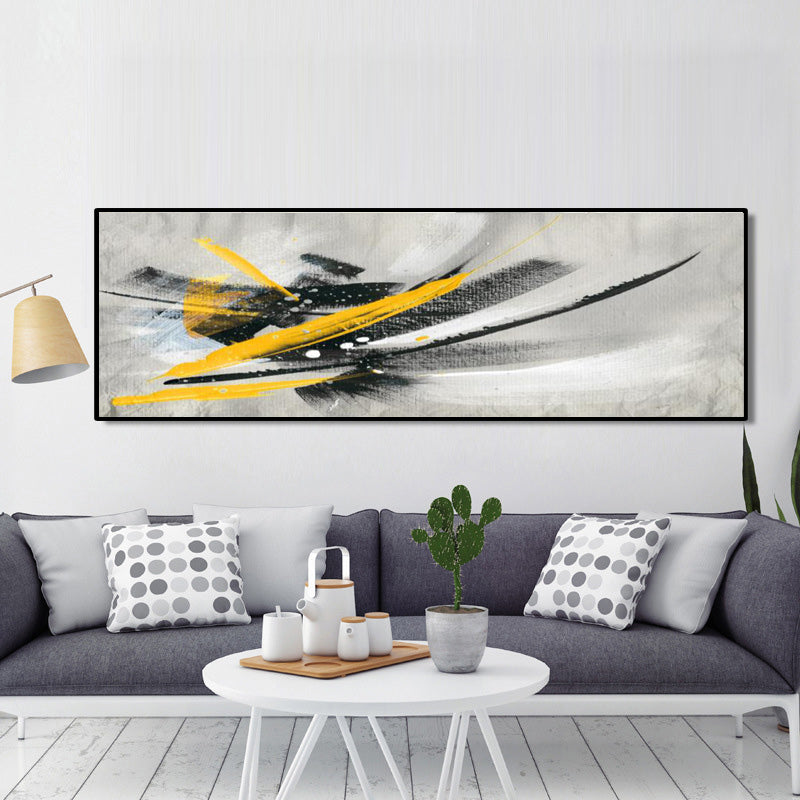 Minimalistic Black and Yellow Abstract Oil Painting on Canvas Posters and Prints - wall art