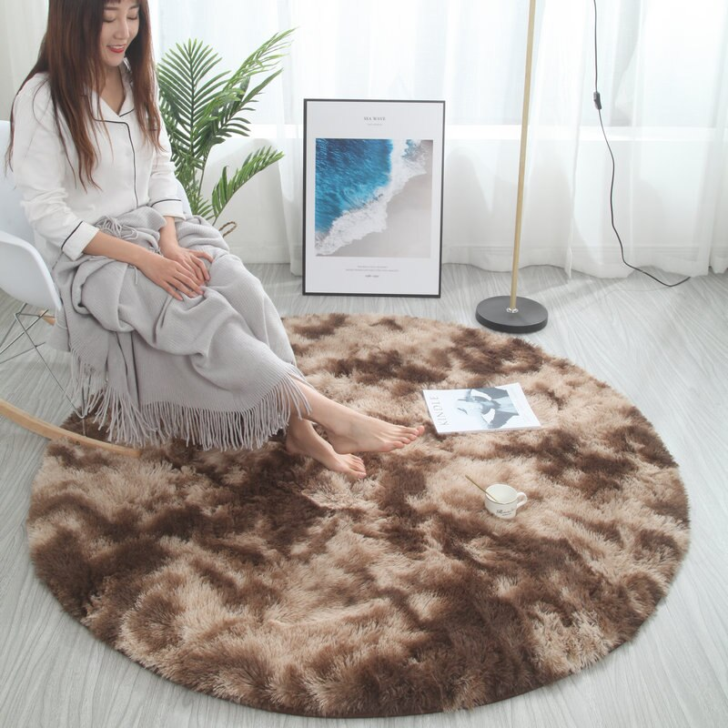 Nordic round carpet tie-dye living room coffee table blanket bedroom bedside mat computer chair yoga rug
