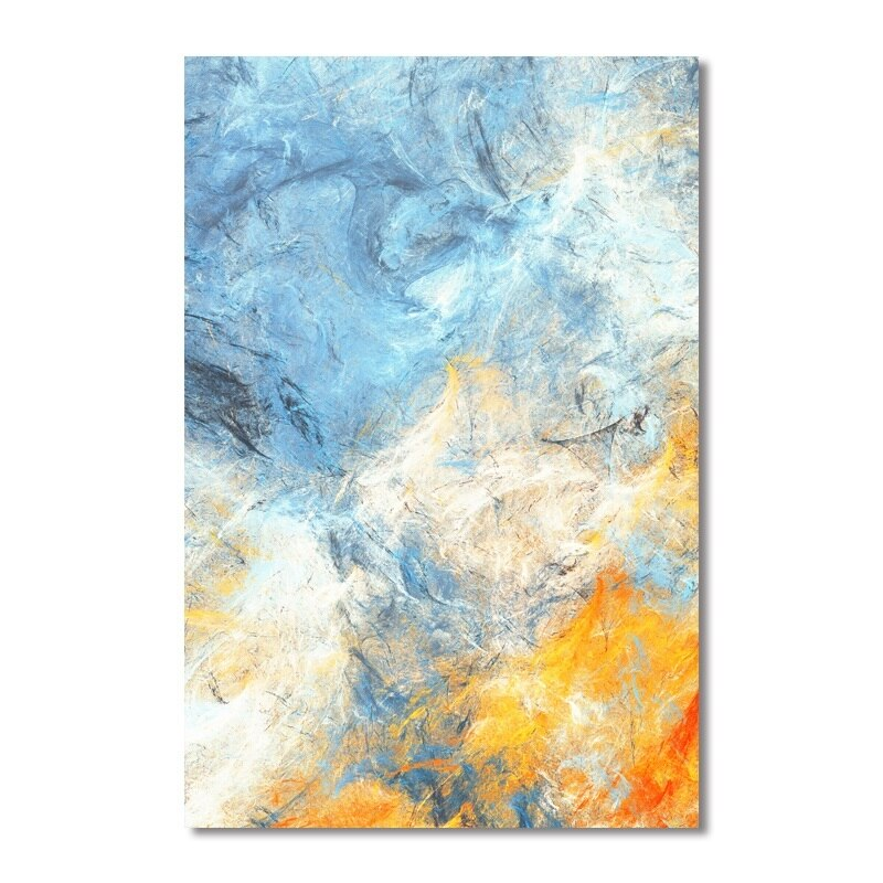 Dream Blue and Yellow Abstract Art Canvas Paintings Modular Pictures Wall Art Canvas for Living Room Decoration No Framed