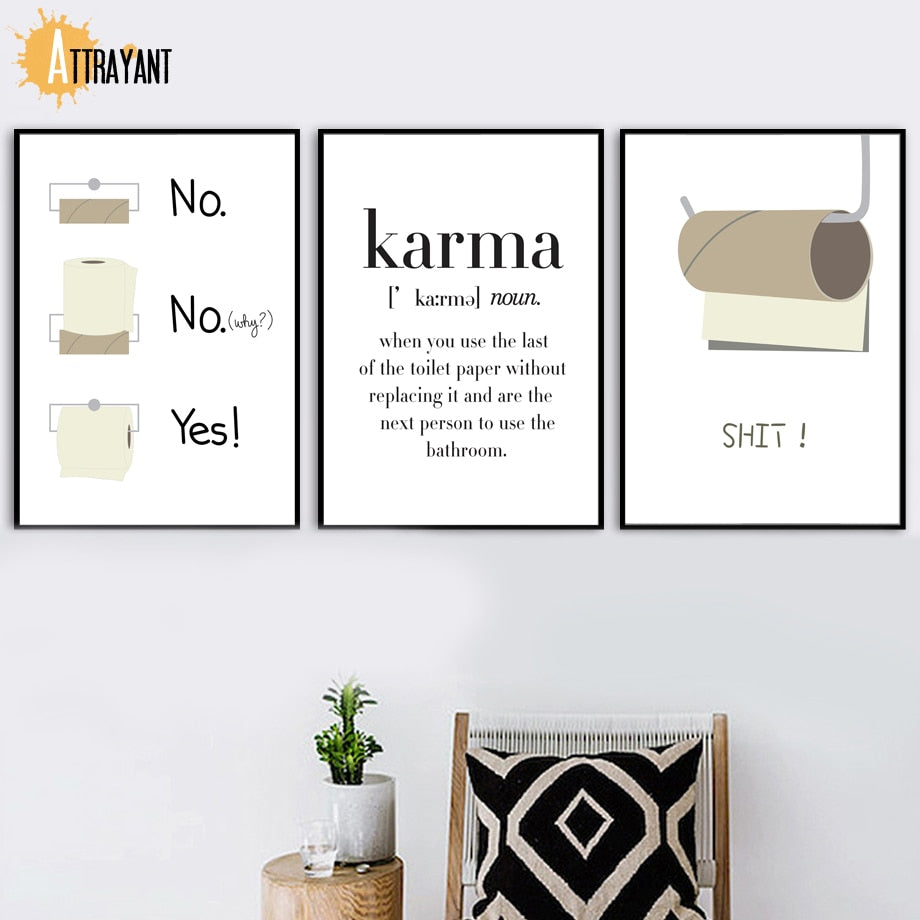Toilet Paper Funny Shit Quote Karma Wall Art Canvas Painting Nordic Posters And Prints - wall art