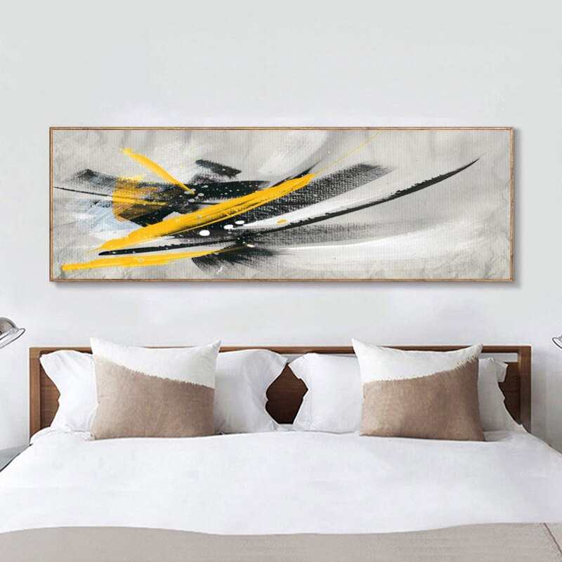 Minimalistic Black and Yellow Abstract Oil Painting on Canvas Posters and Prints Wall Art Pictures for Living Room Nordic Decor