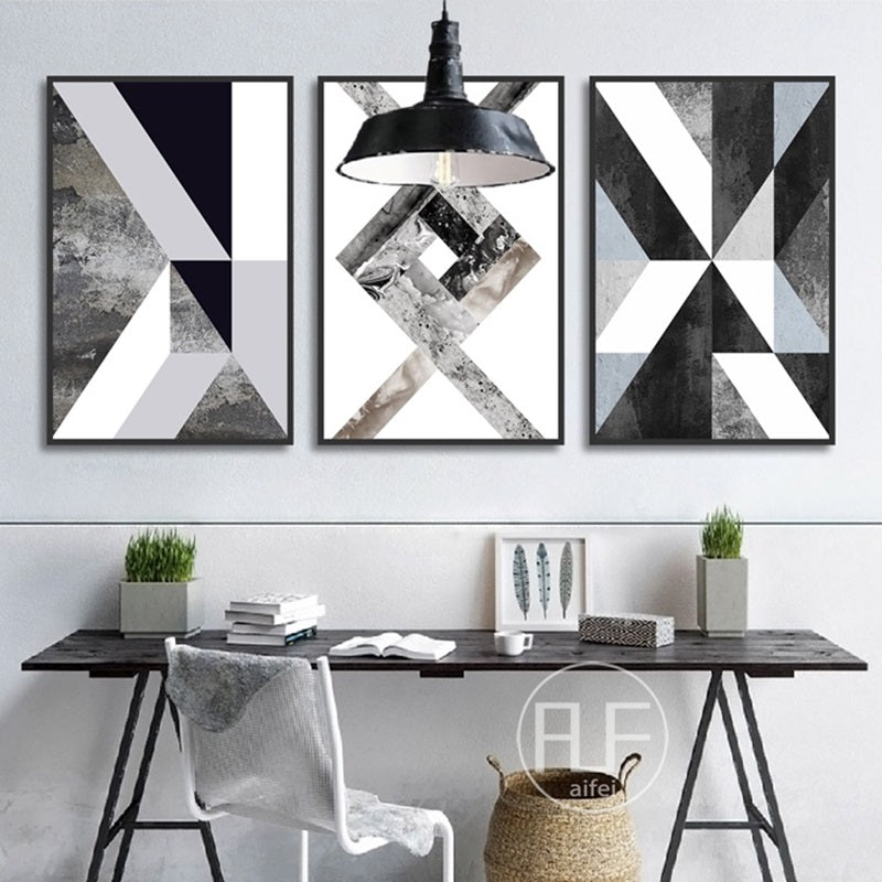 Abstract Geometric Canvas Painting Black and White Nordic Posters and Prints Wall Art Picture for Living Room Decor No Frame - wall art