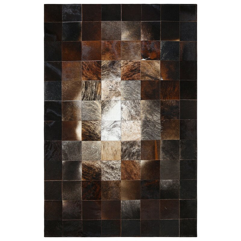 European Style Geometric Grid Carpets Living Room Bedroom Tea Table Rugs Cowhide Manual Stitching Carpet Luxurious Large Rug