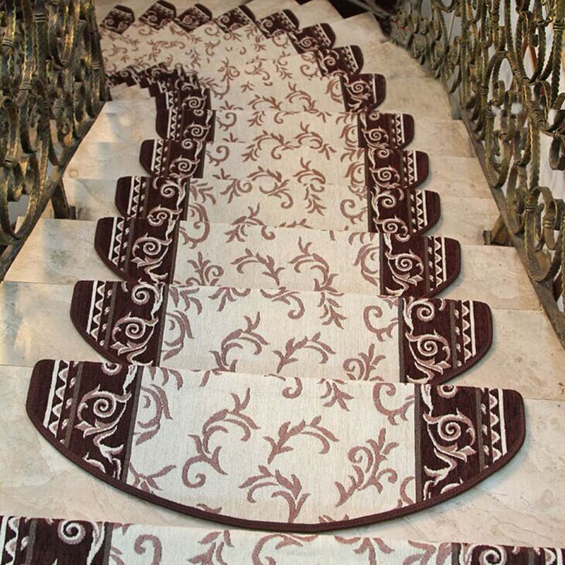 yazi Non-slip Stairs Carpet Self-adhesive European Pastoral Floral Rug Living Room Soft Stairway Stair Step Mat-oosmdeals