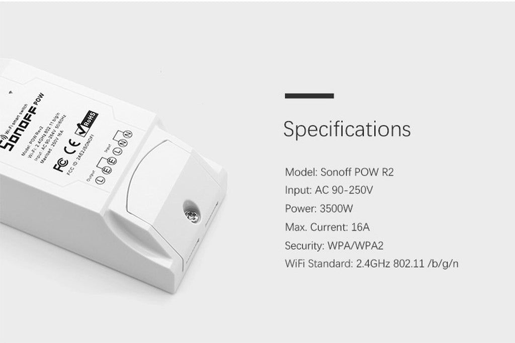 Smart Home with Real Time Power Consumption Measurement Appliance Remote Control 1/2PC Sonoff Pow R2 WiFi Wireless Switch ON/Off