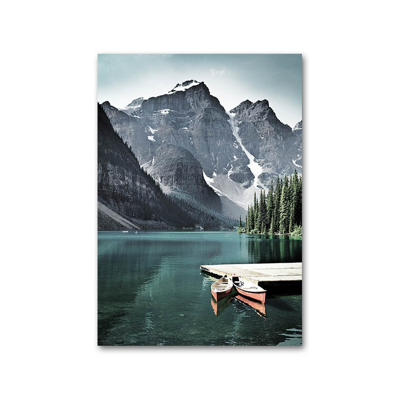 Mountain Lake Waterfall Picture Scandinavian Poster Nordic Style Print Nature Scenery Wall Art Canvas Painting - wall art