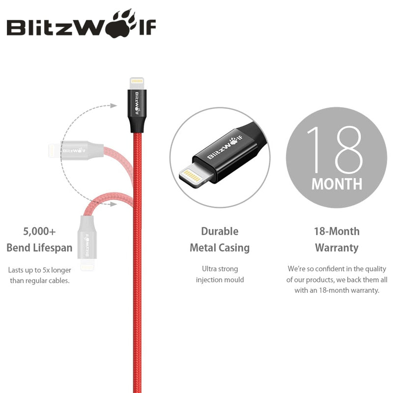 BlitzWolf MFI For Lightning Cable For iPhone 0.9m 1.8m Mobile Phone USB Charger Charging Data Cable For iPhone 11 X Max 8 iPad