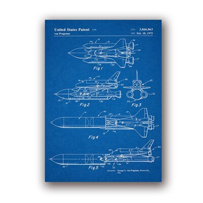 Space Shuttle Patent Blueprint Vintage Posters and Prints Outer Space Artwork Science Wall Art Canvas Painting Gift Home Decor-oosmdeals
