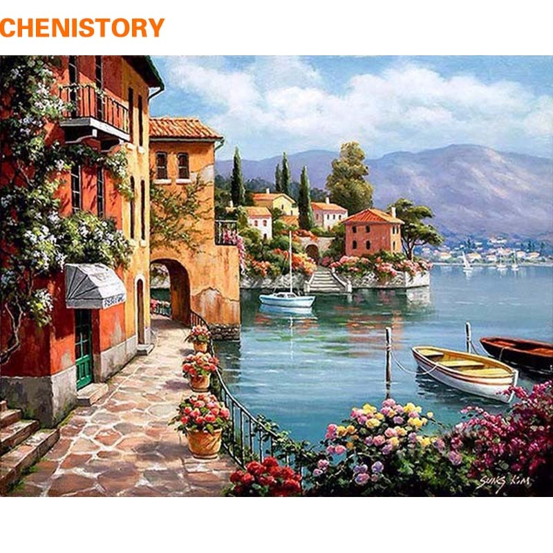 CHENISTORY Romantic Harbor DIY Painting By Numbers Landscape Canvas Painting Home Decor For Living Room Wall Art Picture 40x50cm - wall art