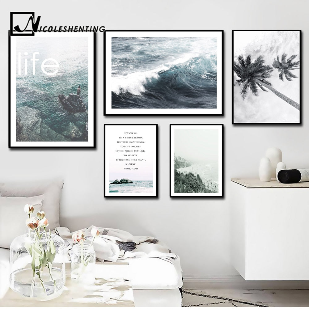 Nordic Decoration Motivational Poster and Prints Life Quote Sea Landscape Wall Art Canvas Painting - wall art
