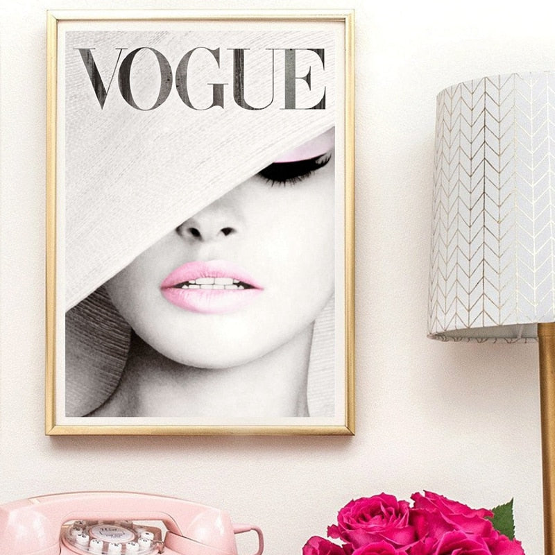 Vogue Cover White Hat Art Canvas Painting Wall Picture , Fashion Photography Canvas Art Prints And Posters - wall art