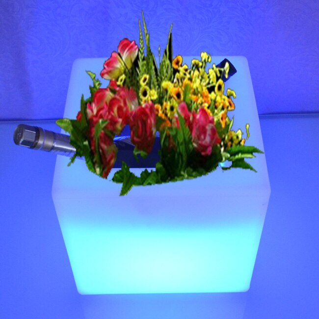 Skybess Remote control Colorful Changeable Led Luminous flash flower pot of indoor illuminated Light planter pot Free Ship 10pcs