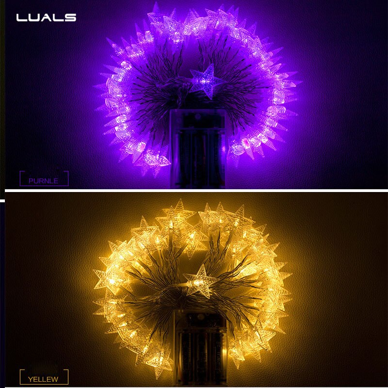 10Pcs New Year Garden Decoration Led Lamp Five-pointed star Christmas Lights Halloween Decoration Led Lights Party Decoration