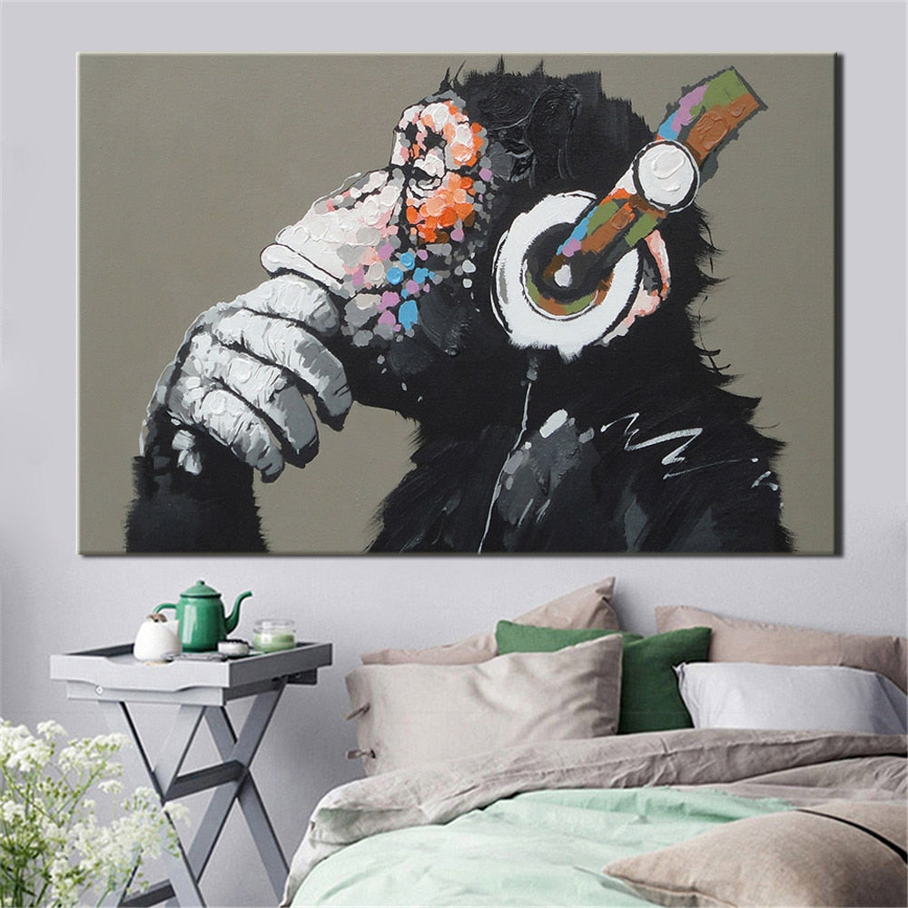 Large Animal Picture Canvas Printed Painting Modern Funny Thinking Monkey with Headphone Wall Art Poster for Living Room Decor - wall art