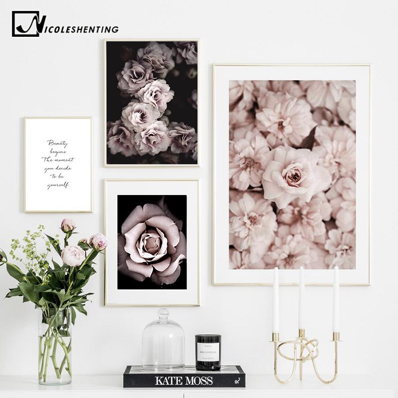Flower Rose Botanical Canvas Art Poster Nordic style - wall art