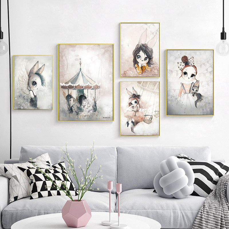 Home Decor Nordic Canvas Painting Wall Art Rabbit Girl Animal Abstract Watercolor Print Kid Bedroom Living Room Poster Picture - wall art