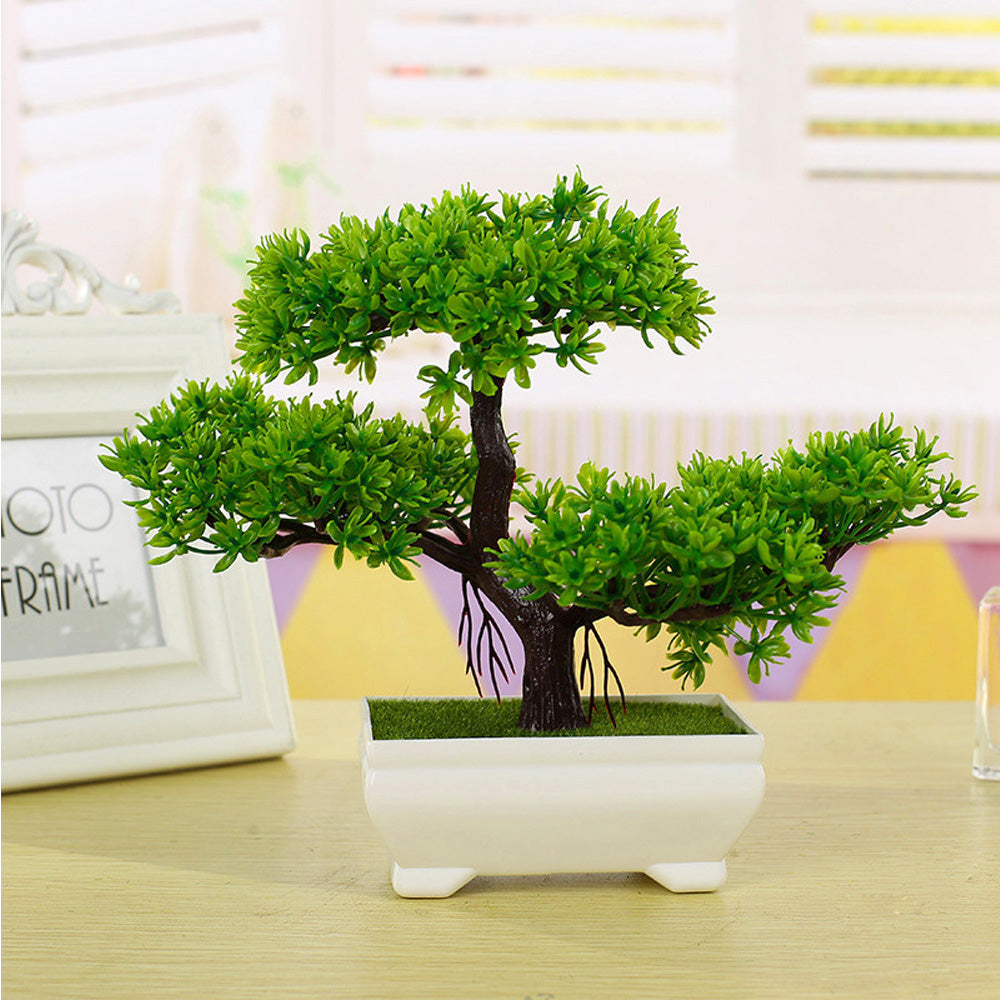 Multicolor Artificial Plant Small Tree Potted Plants Fake Bonsai Guest-Greeting Pine Tree - home and decor