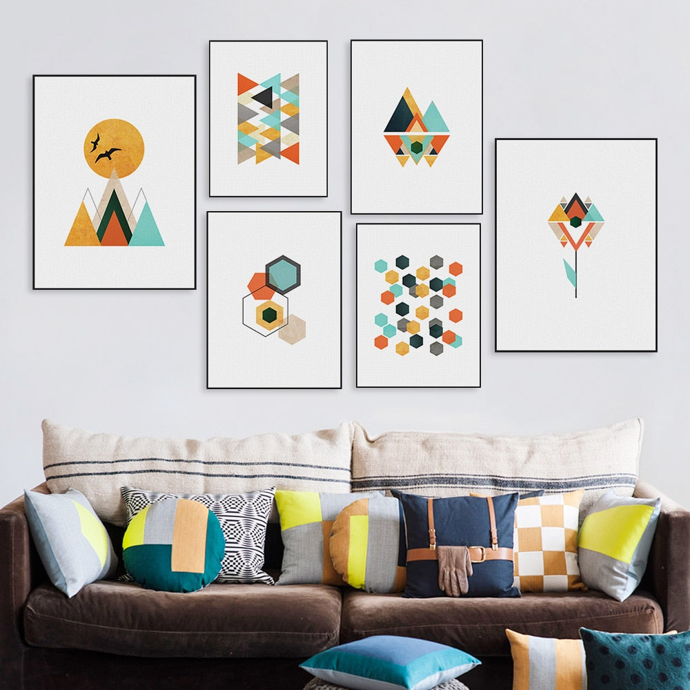 Abstract Geometric Shape Landscape Mountain Sun Canvas Art Print Poster Nordic Wall Picture Living Room Home Decor Painting - wall art