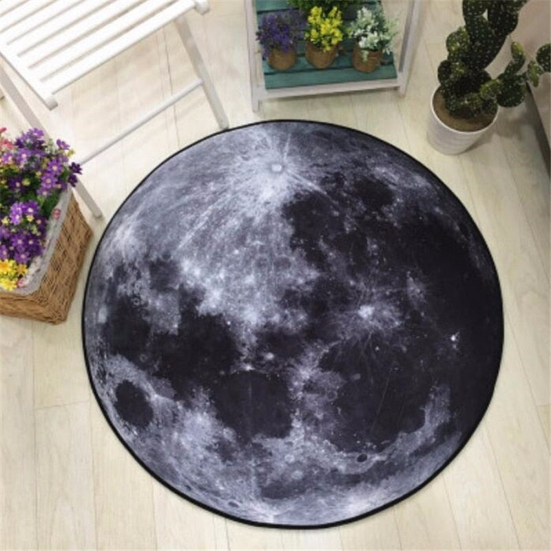 3D Earth Moon Printed Round Carpet Soft Carpets for Living Room Anti-slip Rug Computer Chair Floor Mat for Home Decor Kids Room