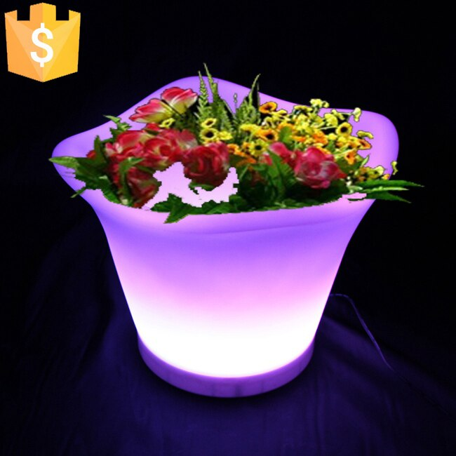 L32*W32*H28cm Modern LED Lighting Planter rechargeable color changing light up flower pots with remote control 10pcs/Lot