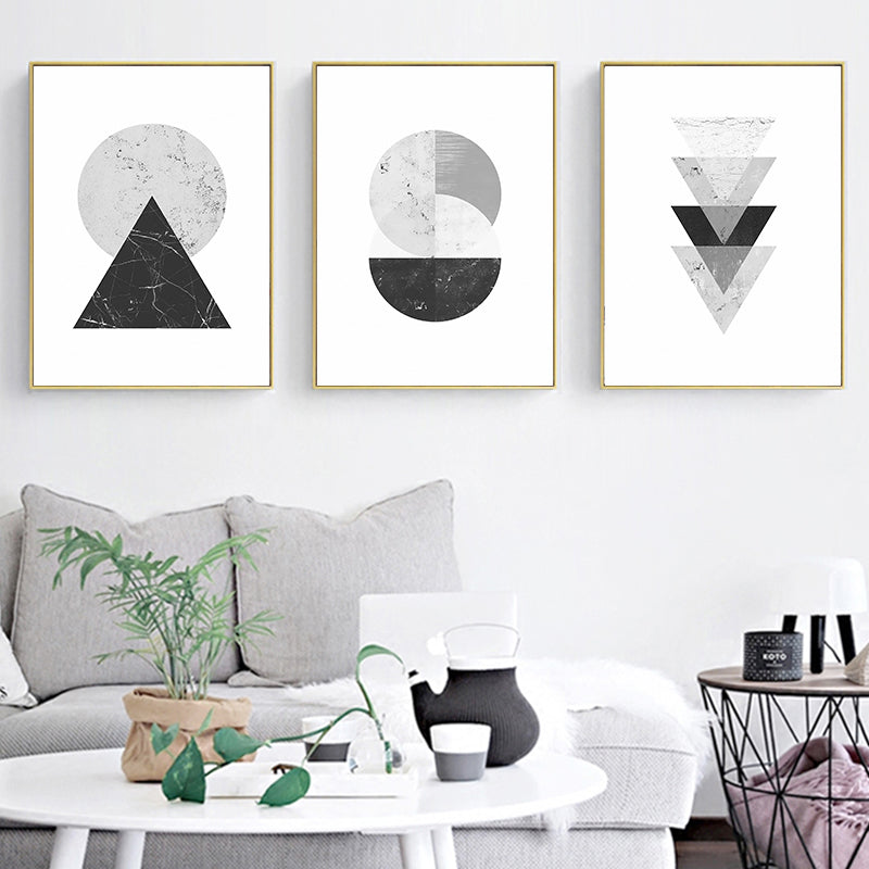 Minimalist Style Marble Geometric Pattern Abstract Decorative Canvas Painting Print Poster - wall art