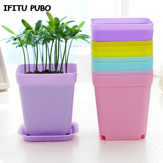 New 10pcs/pack FlowerPot Square Plastic Planter Nursery Garden Desk - home and decor