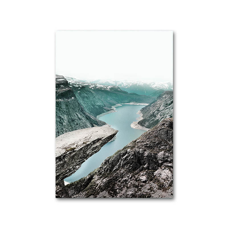 Mountain Lake Waterfall Picture Scandinavian Poster Nordic Style Print Nature Scenery Wall Art Canvas Painting - wall art-oosmdeals