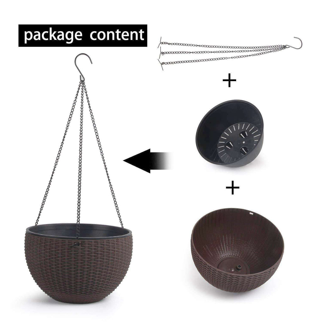 "10"" Self Watering Hanging Planter Basket with Chain Coffee Brown Modern Plastic Flower Pot Hanger Round Plant Holder Pack of 4"