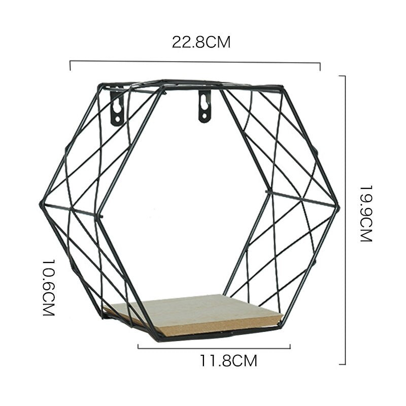 Modern Nordic Shelf Wall Decor Metal Iron Hexagon Shelf Wall Hanging Floating Shelf Geometric Mensole - wall art
